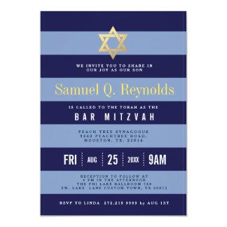 バーの(ユダヤ教の)バル・ミツバーのストライプのな招待状ダビデの星 カード