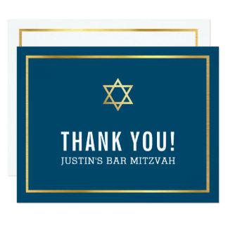 バーの(ユダヤ教の)バル・ミツバーのモダンなシンプルは金ゴールドの星海軍感謝していしています カード