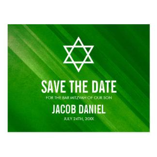 バーの(ユダヤ教の)バル・ミツバーのモダンな緑のグランジな保存日付 ポストカード