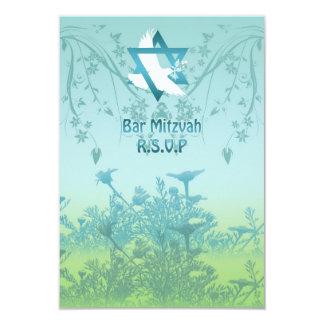 バーの(ユダヤ教の)バル・ミツバーの応答の名前入りな招待 カード