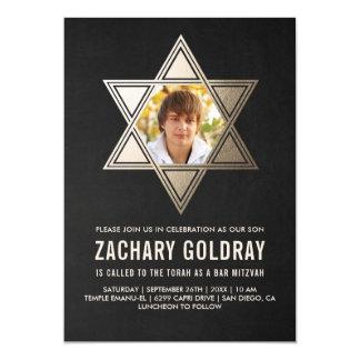 バーの(ユダヤ教の)バル・ミツバーの招待状 ののどの金ゴールドホイルの星 カード