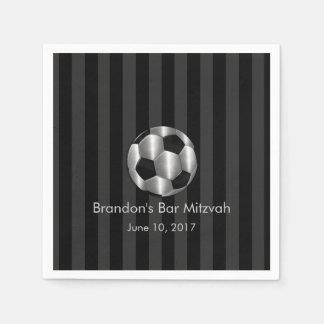 バーの(ユダヤ教の)バル・ミツバーの銀製のサッカーボール スタンダードカクテルナプキン