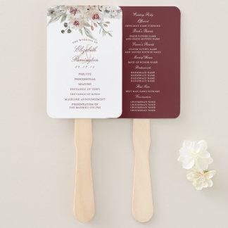 バーガンディおよびアイボリーの花柄の結婚式プログラム ハンドファン