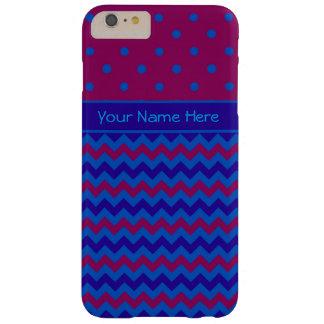バーガンディおよびシェブロンパターンの青い水玉模様 BARELY THERE iPhone 6 PLUS ケース