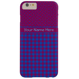バーガンディおよび点検パターンの青い水玉模様 BARELY THERE iPhone 6 PLUS ケース