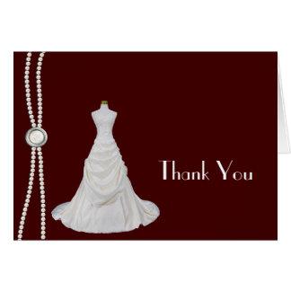 バーガンディおよび白いブライダルシャワーは感謝していしています カード