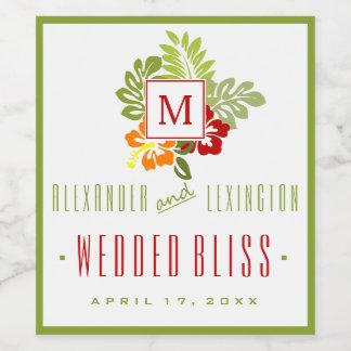 バーガンディおよび緑のハイビスカスのモノグラムのな結婚式 ワインラベル
