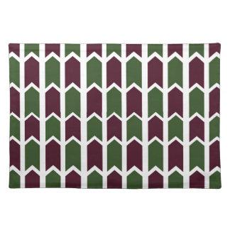 バーガンディおよび緑のパネルの塀 ランチョンマット