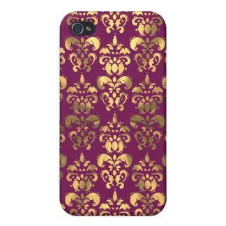 バーガンディおよび金ゴールドのダマスク織 iPhone 4/4S COVER
