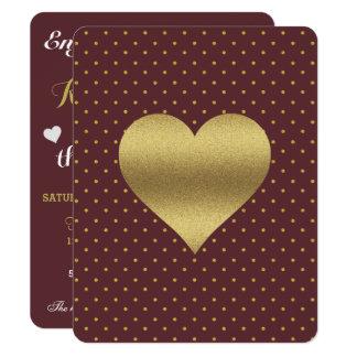 バーガンディおよび金ゴールドのハートの水玉模様のパーティの招待状 カード