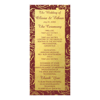 バーガンディおよび金ゴールドのバラの結婚式プログラム ラックカード
