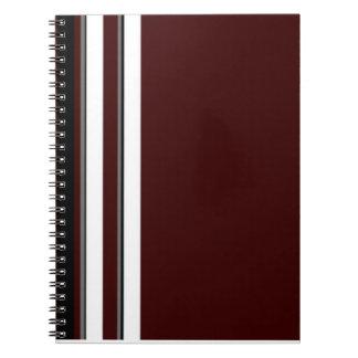 バーガンディか灰色及び白のストライプのノート ノートブック