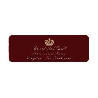 バーガンディのあずき色のセピア色RSVPの皇太子妃のブライダル ラベル