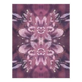 バーガンディのかわいらしくシックなラベンダーの芸術的な花柄 レターヘッド
