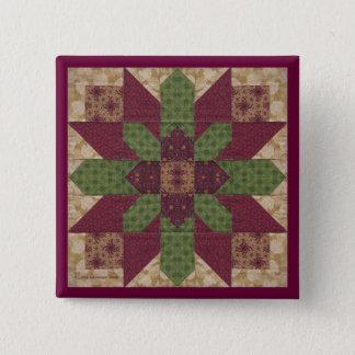 バーガンディのキルトにされた緑の星 5.1CM 正方形バッジ