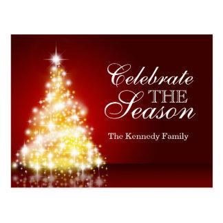バーガンディのクリスマスツリー ポストカード