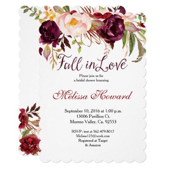 バーガンディのブライダルシャワーは招待恋に落ちます カード