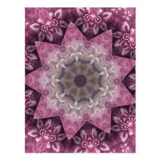 バーガンディのマゼンタの円の入ったパターン ポストカード