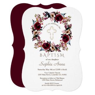 バーガンディのモモのMarsalaの花柄の洗礼 カード
