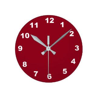 バーガンディの時計から選ぶべき12の数選択 ラウンド壁時計