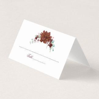 バーガンディの水彩画の花の結婚式 プレイスカード