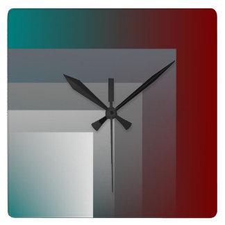 バーガンディの灰色の緑の時計 スクエア壁時計