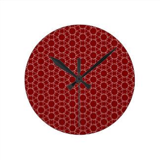 バーガンディの白い蜜蜂の巣パターン ラウンド壁時計
