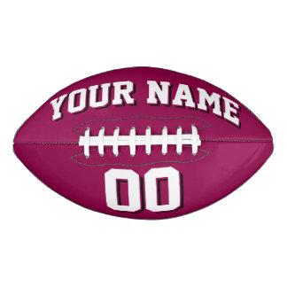 バーガンディの白くおよび黒くカスタムなフットボール アメリカンフットボール