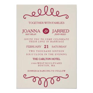 バーガンディの結婚式招待状 カード