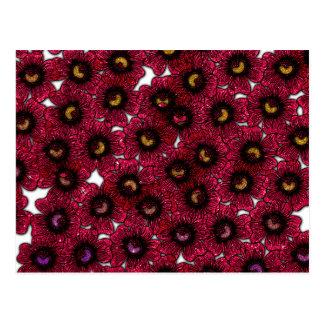 バーガンディの花のグリッターのプリントのイメージ ポストカード