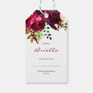 バーガンディの花のブライダルシャワー覆いの表示ギフト無し ギフトタグ