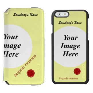 バーガンディの花のリボンのテンプレート iPhone 6/6Sウォレットケース