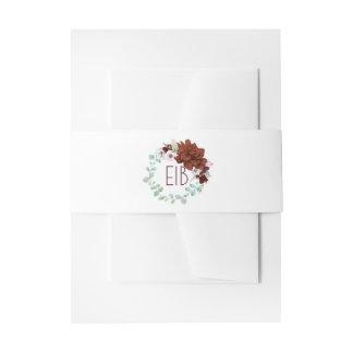 バーガンディの花のリースのエレガントな水彩画の結婚 招待状ベリーバンド