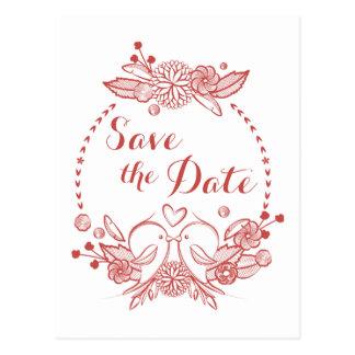 バーガンディの花の保存日付の赤い仲の良い恋人同士の結婚式 ポストカード