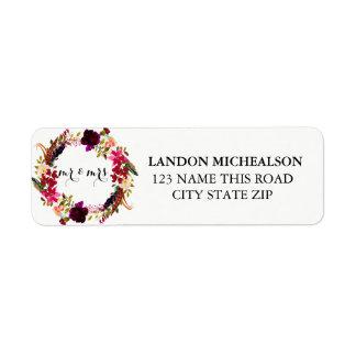 バーガンディの花の水彩画の宛名ラベル ラベル