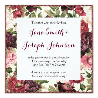 バーガンディの花束の正方形の結婚式招待状 13.3 スクエアインビテーションカード