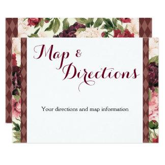 バーガンディの花束の結婚式の情報カード 8.9 X 12.7 インビテーションカード