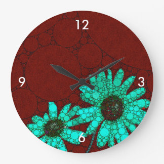 バーガンディの蛍光ターコイズの花 ラージ壁時計