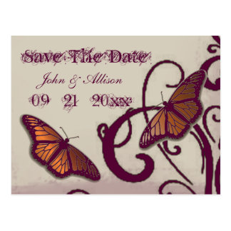 バーガンディの蝶渦巻の保存日付の郵便はがき ポストカード