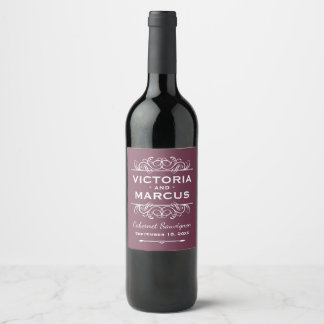 バーガンディの赤い結婚式のワイン・ボトルの好意 ワインラベル