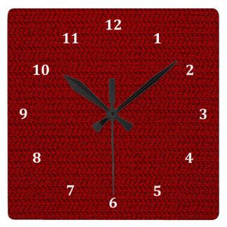バーガンディの赤い織り方の網の一見 スクエア壁時計
