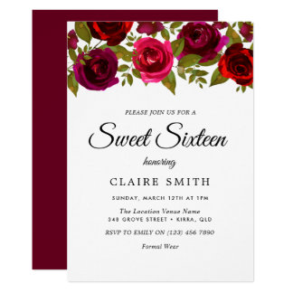 バーガンディの赤い花のエレガントな菓子16の招待 カード