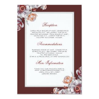 バーガンディの赤い花の結婚式情報ゲスト カード