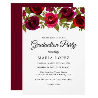 バーガンディの赤によってはエレガントな卒業パーティーが開花します カード