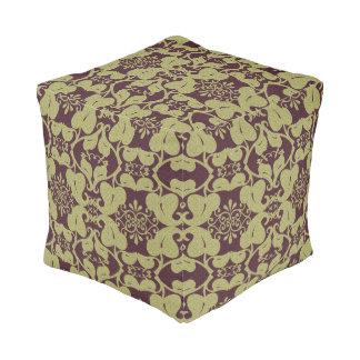バーガンディの金ゴールドのモダンでエレガントで華美な葉パターン プーフ