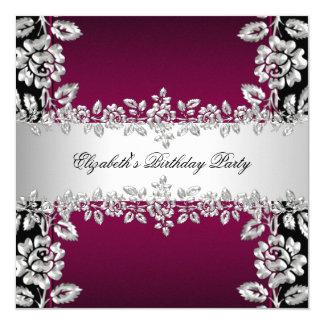 バーガンディの銀製の花の黒い誕生会 カード