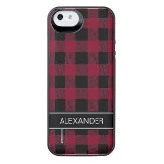 バーガンディの黒いバッファローの点検の格子縞の名前のモノグラム iPhone SE/5/5sバッテリーケース