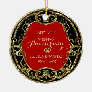 バーガンディの黒及び金ゴールド第50の結婚記念日 セラミックオーナメント