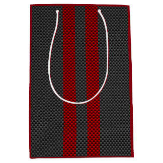バーガンディストライプな装飾を競争させる赤いカーボンスタイル ミディアムペーパーバッグ