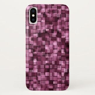 バーガンディピクセル iPhone X ケース